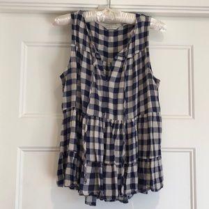11.1.TYLHO plaid sleeveless blouse
